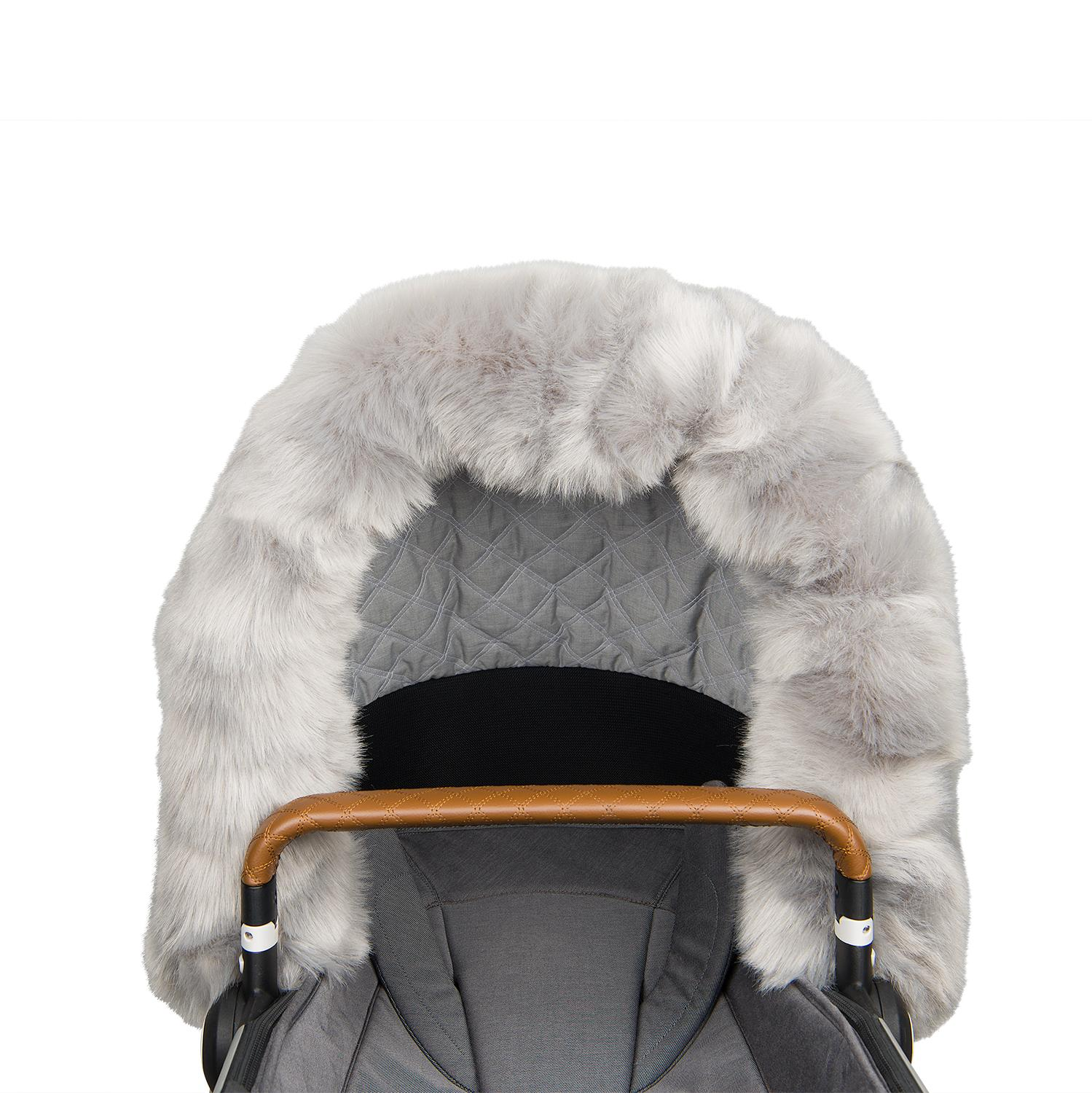 Faux fur collar for stroller, Grå