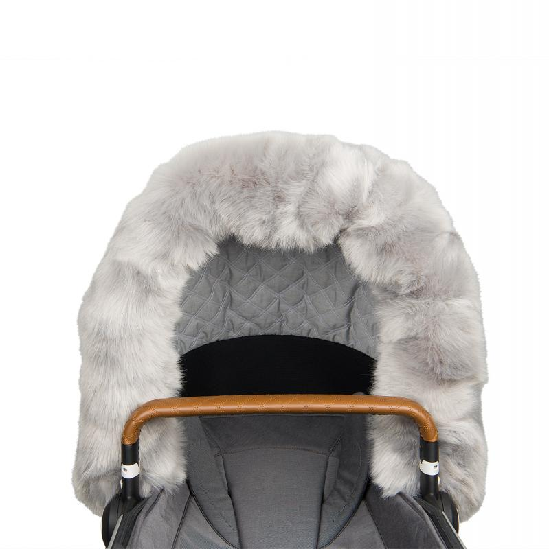 Fur collar for stroller, Grey