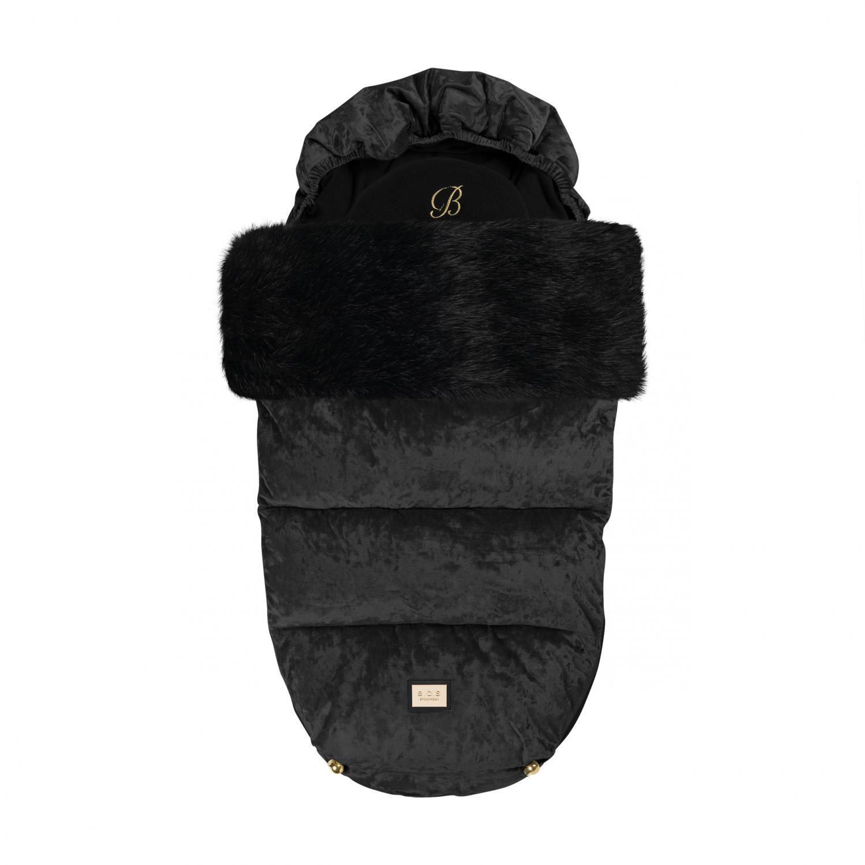 Åkpåse för baby och barnvagn i svart sammet och tjock svart pälskant passar för vår vinter och sommar