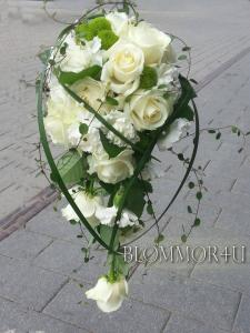 Droppformad vit brudbukett