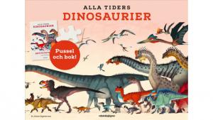 Alla tiders dinosaurier: aktivitetsbok, plansch och pussel 150 bitar