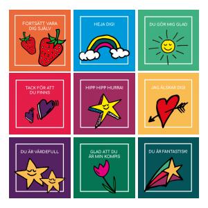 9-pack peppande vykort/små tavlor