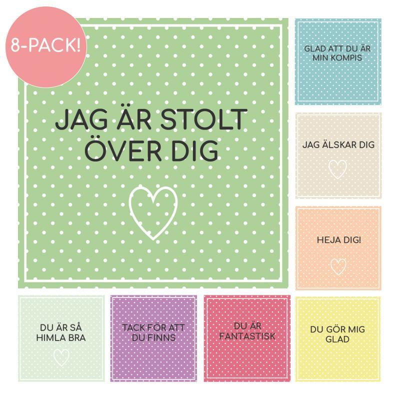 8-pack peppande vykort/små tavlor