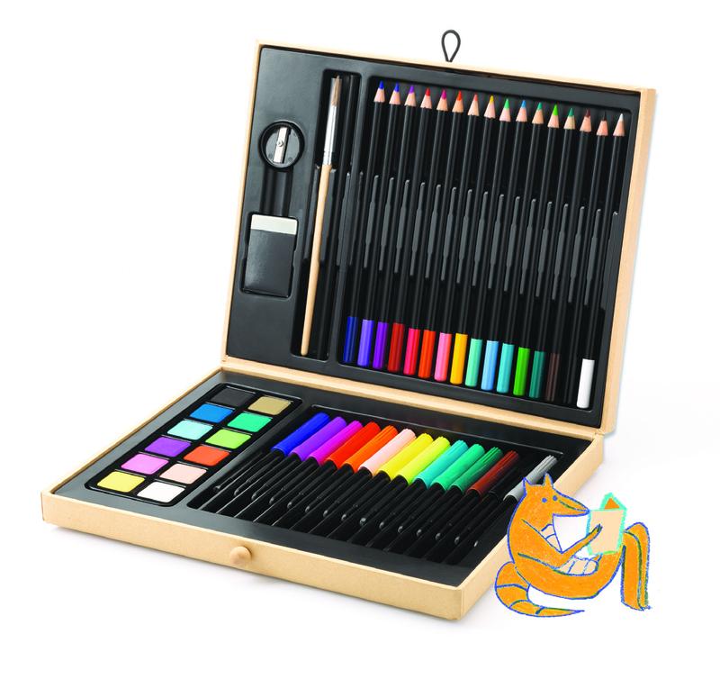 Stor trälåda med färgpennor och mycket mer