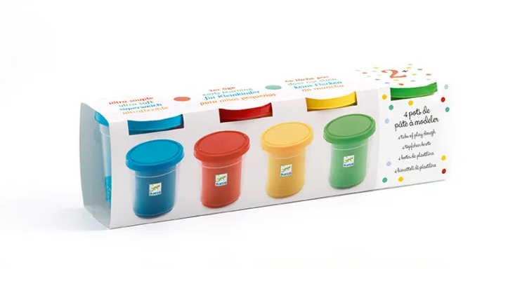 Leklera i fyra olika färger
