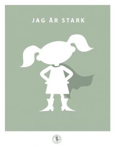 Poster - stark (tofsar, grön)