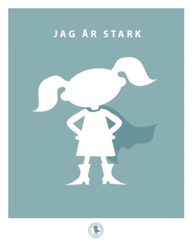 Poster - stark (tofsar, blå)