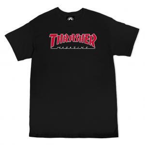 Thrasher Tee Outlined Black