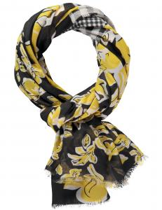 Scarf svart/gul /vit mönstrad