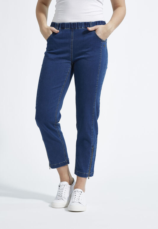 Jeans denimblå piper