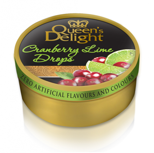 "Queen's delight hårda karameller ""Cranberry lime drops"" 150g"