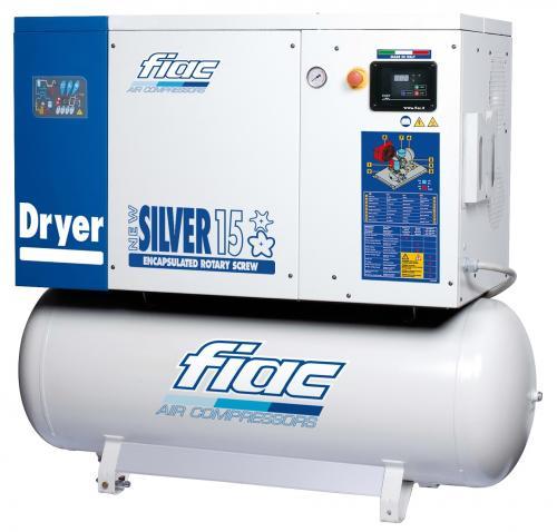 Fiac New Silver 15/10 skruvkompressor med kyltork