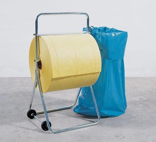 Golvställ med hjul för absorbentrullar