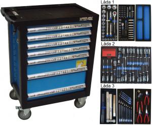 Bato verktygsvagn 7 lådor (inkl 225 delar)