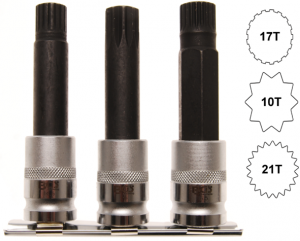 BGS Technic 5285 specialhylstappar för BMW-låsbultar (10, 17 & 21-tandade)