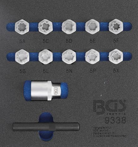 BGS Technic 9338 specialhylsor för Mercedes-benz låsbultar (10st)