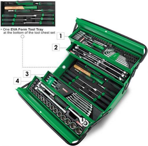 Toptul verktygslåda i plåt med 111st verktyg