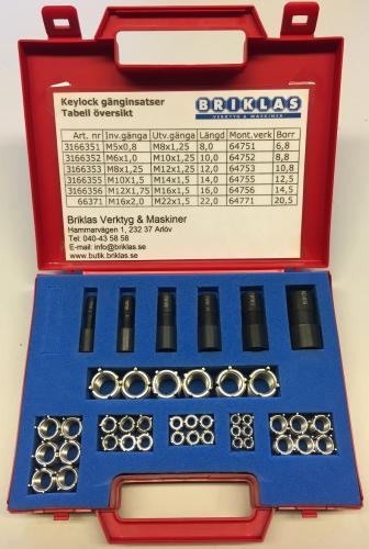 Insatsgängor keylocksats M5-M16 (36 delar)