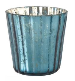 En Aqua blå värmeljushållare