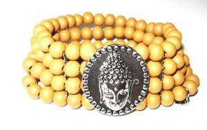 Armband träpärlor ljusbeige med Buddha 4 radigt med metalldelar emellan