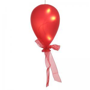 Glasballong röd med ledbelysning