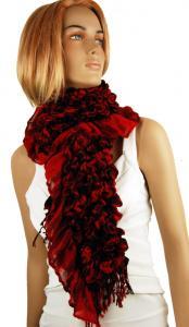 Röd sjal med svart