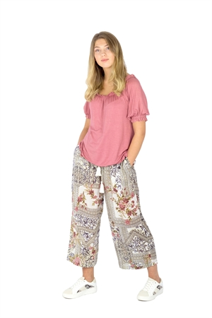 Juni Pants Rose/Creme/Cocoa - Capri Collection