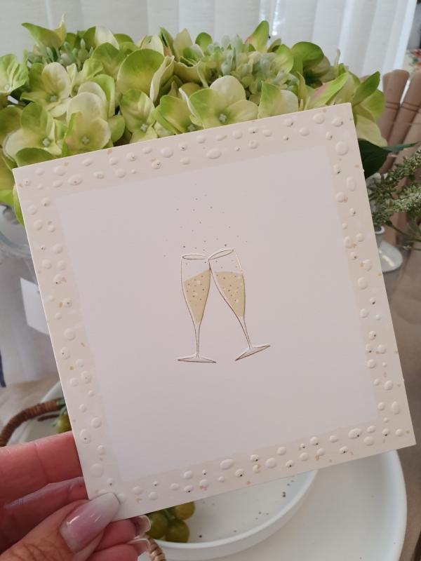 Kort med champagneglas, från Pictura