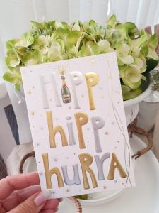 Hipp, hipp, hurra (champagneflaska), kort från Pictura