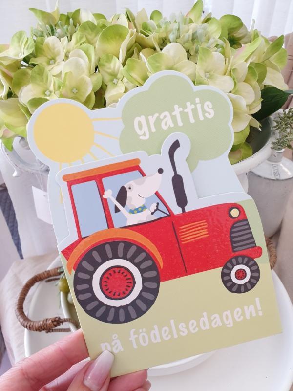 Grattis på födelsedagen (traktor och hund), kort från Pictura