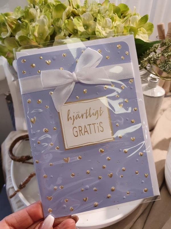 Hjärtligt grattis (blått med sidenrosett), kort från Pictura