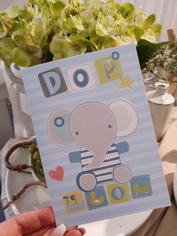 Dop (elefant, blå), kort från Pictura