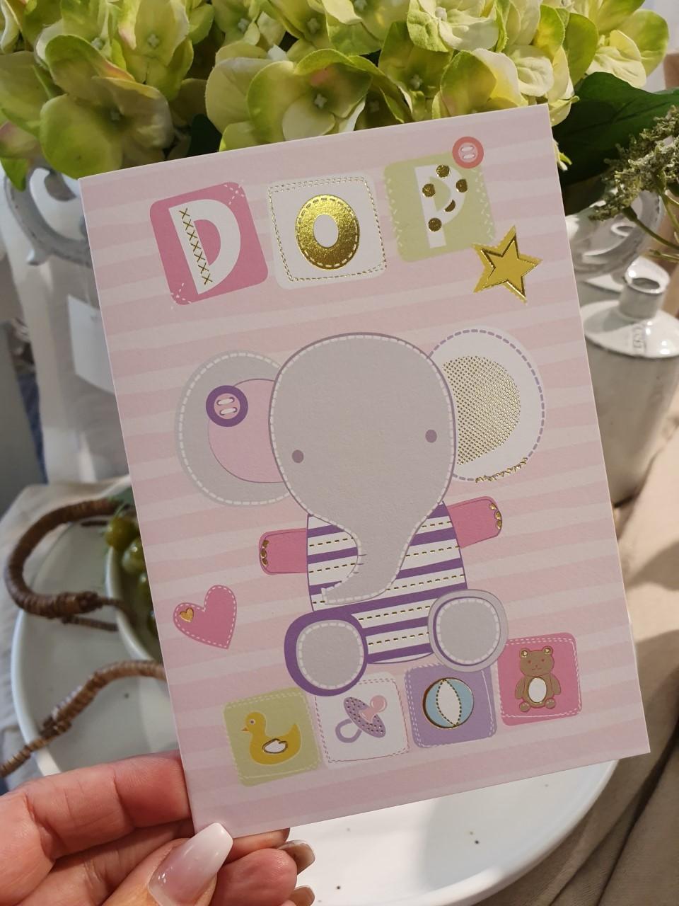 Dop (elefant, rosa), kort från Pictura