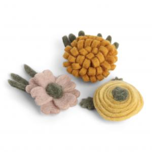 Blommor i tovad ull (stora), set om 3 - En Gry & Sif   (10111)