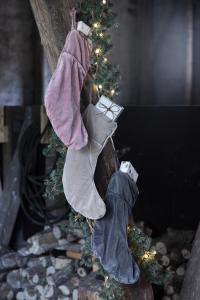 Julstrumpa i sammet, gammalrosa - Ib Laursen