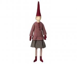 MEGA PIXY GIRL, randig stickad tröja och grå kjol, Maileg   (2021)    LEV OKT/NOV
