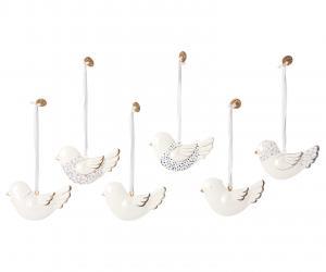 Ask med 6 fåglar i metall, Maileg