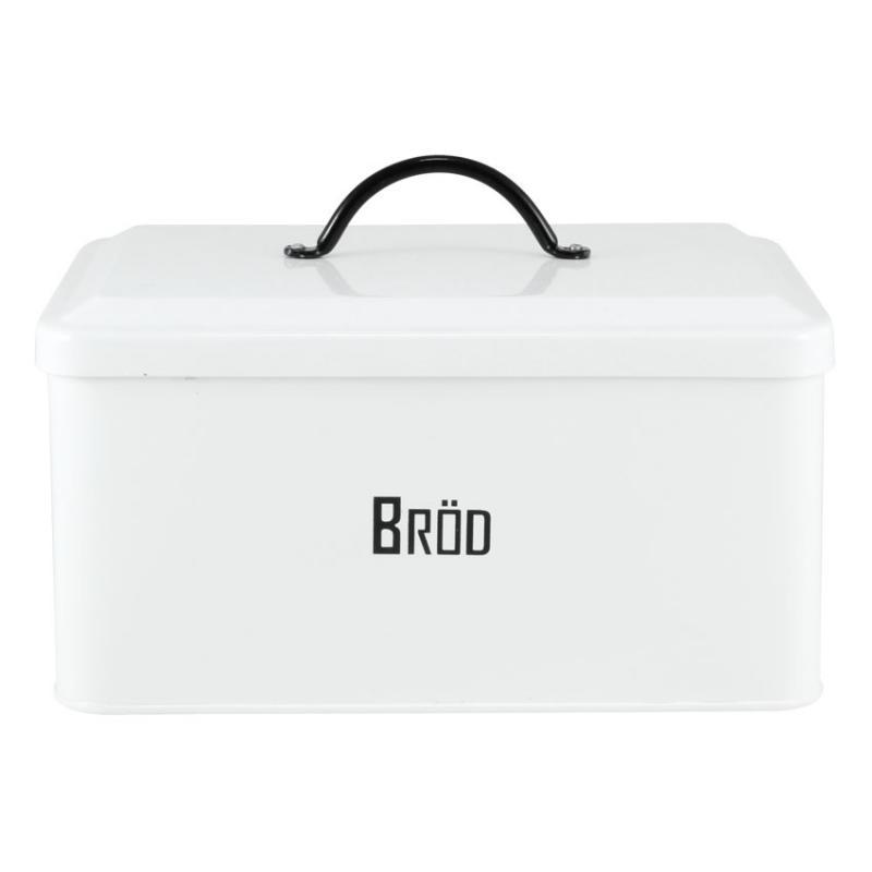 Brödbox i plåt vit med text - Svarte Petter