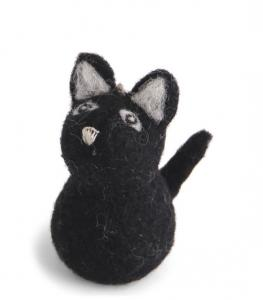 Tovad svart katt, stor