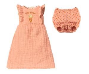 Maileg, Söt rosa klänning med tillhörande prickig underbyxa - size 3 till Bunny eller Rabbit