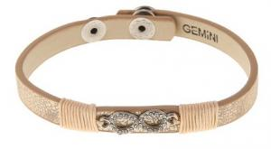 Armband, Champagnefärgad läderrem med strassprytt eternity-märke - Gemini