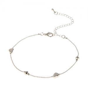 Ankelkedja, Silverfärgad kedja med hjärtan och fassetterade pärlor - Gemini