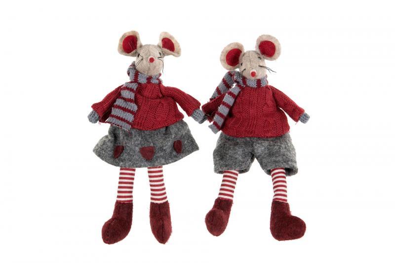 Musflicka sittande, grå kjol och röd tröja - A lot