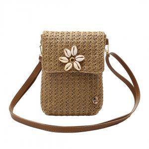 Naturbrun väska med blomma av snäckor, ROM (Gemini)
