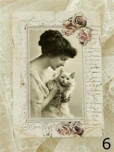 Kort från Annas Idéer - Dam med katt