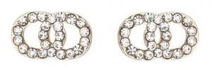 Gemini Örhängen, 2 ringar i strass (guldfäste)