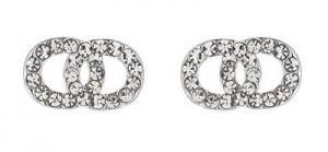 Gemini Örhängen, 2 ringar i strass (silverfäste)