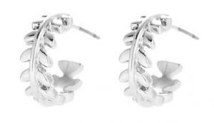 Gemini Örhängen, Silverfärgad lövprydd ring