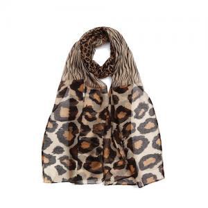 Sjal, leo och zebra print i beige/kamel/brun - Gemini