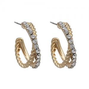 Guldfärgade örhängen, 2 ringar - Gemini